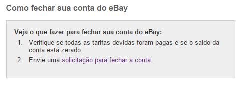 como apagar conta ebay