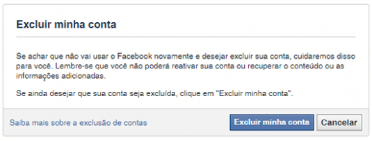 excluir facebook definitivamente