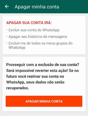 apagar uma conta WhatsApp
