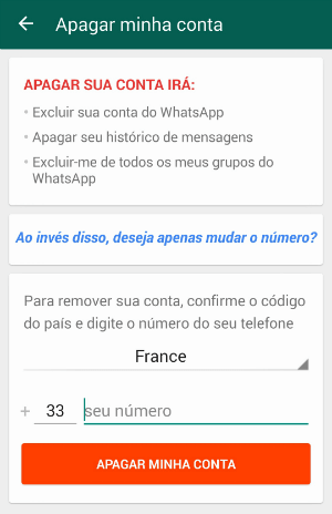 excluir conta WhatsApp 2