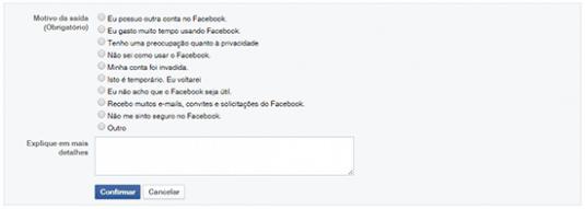 desactivar conta facebook