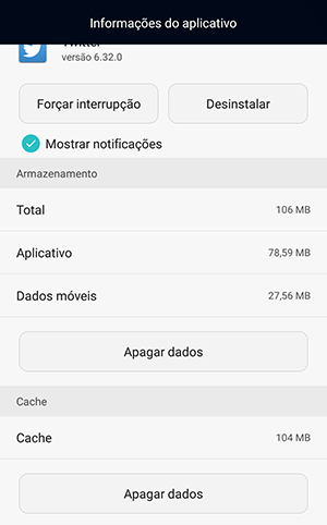 apagar dados cache android